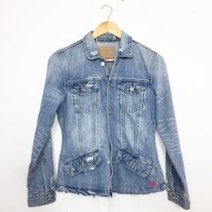 Lucky Brand Distressed Waisted Trucker Jean Jacket